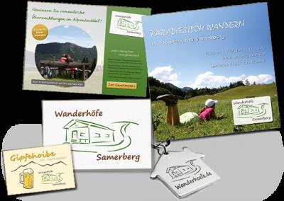 Logodesign und verschiedene Werbemittel für die Wanderhöfe Samerberg