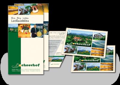 Logo, Postkarten, Gutscheine und Flyer für den Lochnerhof