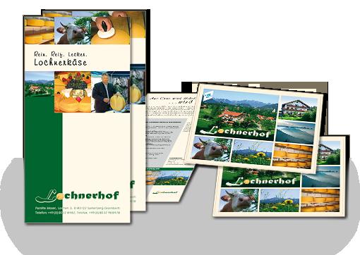 Postkarten und Flyer für den Lochnerhof