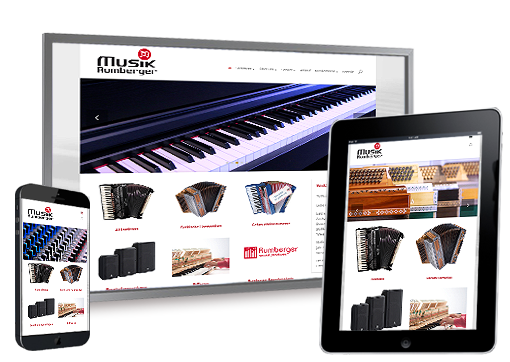 Screenshots der responsiven Internetseite Musik-Rumberger.de