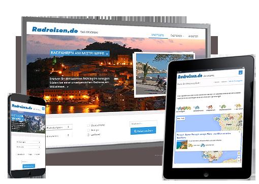 Screenshot der Radreisen.de - Responsive gestaltetes Internetportal