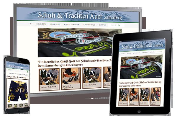 Die neue responsive Internetseite von Schuh und Trachten Auer, Törwang - Samerberg
