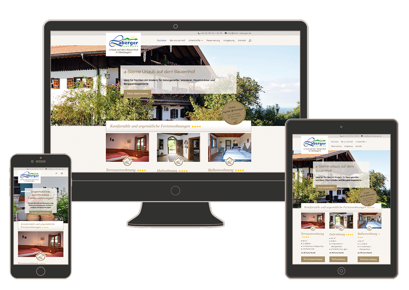 Die neue responsive Internetseite für den Labergerhof im Alpenhochtal Samerberg